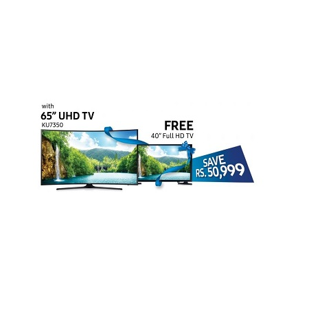 Samsung 65KU7350 4K Curved UHD Smart LED TV Free 40 inch LCD Free