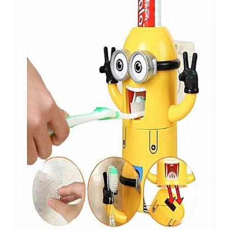 akiamore Automatic Minion Toothpaste Dispenser & Holder Yellow