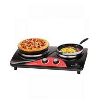 Westpoint Official WF272 Deluxe Double Hot Plate Black & Red