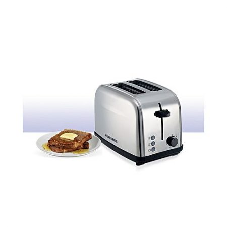 Black + Decker ET222 Stainless Steel Popup Toaster Grey