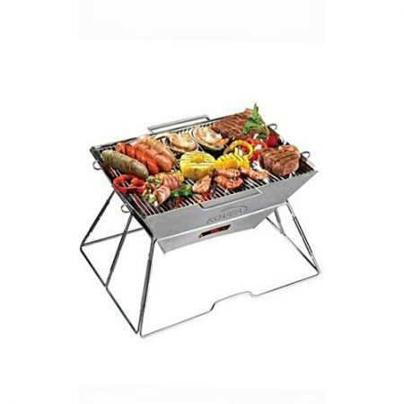 Click Stainless steel Foldable BBQ Grill With Skewers Large