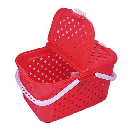 H.N.Store Portable Picnic And Carry Basket With Lid Red