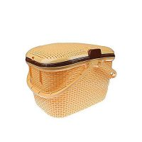 Imported Chacha Portable Picnic And Carry Basket With Lid (Yellow)