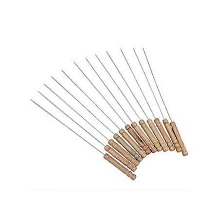 Kangaroo Set of 12 BBQ Skewers Silver &Brown