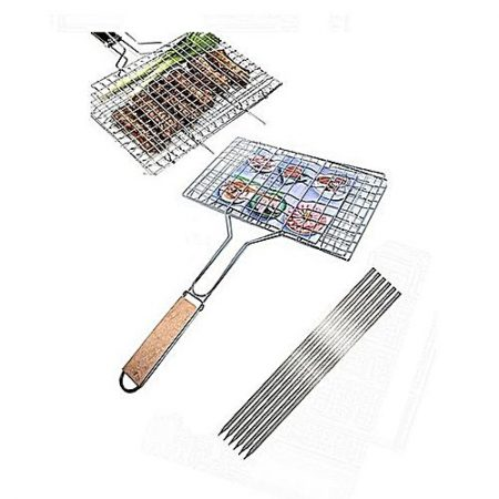Shop2Home Pack Of 7 6 Bbq Skewers &1 Bbq Stainless Steel Hand Grill Large