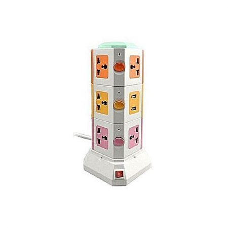 shopspk Vertical Secure Power Sockets with USB Port Multicolor