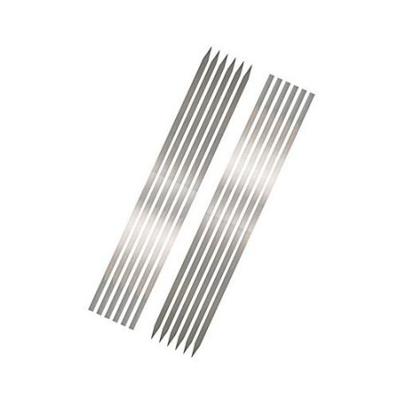 Click Here Pack of 12 - BBQ Flat Tikka Skewers - Silver ha250