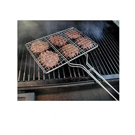 Dynamic Mart BBQ Grill Basket with Wooden Handle - Silver ha146
