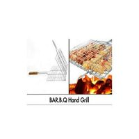 Hot deals BBQ Grill Basket with Wooden Handle - Silver ha216
