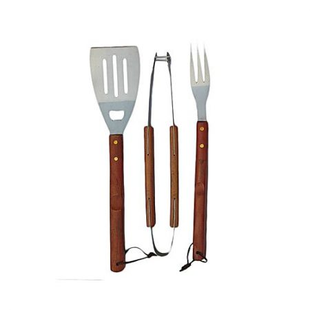 Hot deals Gardenia BBQ Tool Set with Wooden Handle - 3pcs - Brown & Silver ha224