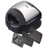 Westpoint Wf 6193 Sandwich Maker, Panini Press Grill, Waffle Maker, American Toaster Maker, 3-in-1 Detachable Non-stick Coating Table Grill, Mini Maker, Black